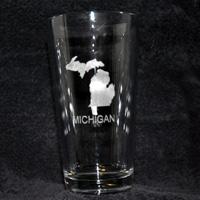 Laser Engraved Glass - Michigan