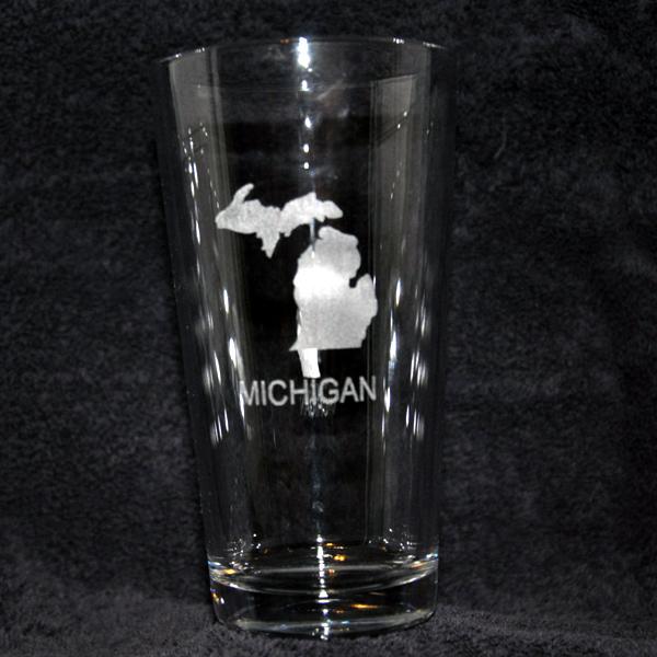 Engraved Michigan Beverage Glass Mccoy Creek Laser Designs