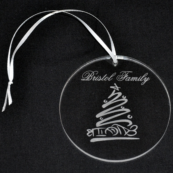 Personalized Acrylic Ornament with Engraved Whimsical Tree Design ...