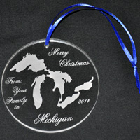 Laser Engraved Michigan Ornament