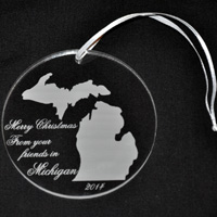 Engraved Acrylic Christmas Ornament with Text