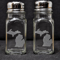 Laser Engraved Michigan Salt & Pepper Shakers