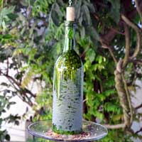 Laser Engraved Wine Bottle Bird Feeder