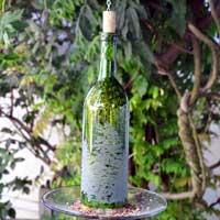 Laser Engraved Wine Bottle Bird Feeder