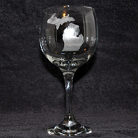 Michigan Engraved Wine Glass