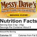 Original Messy Dave's Nutrition Facts