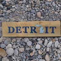 Michigan Barnwood Detroit Sign