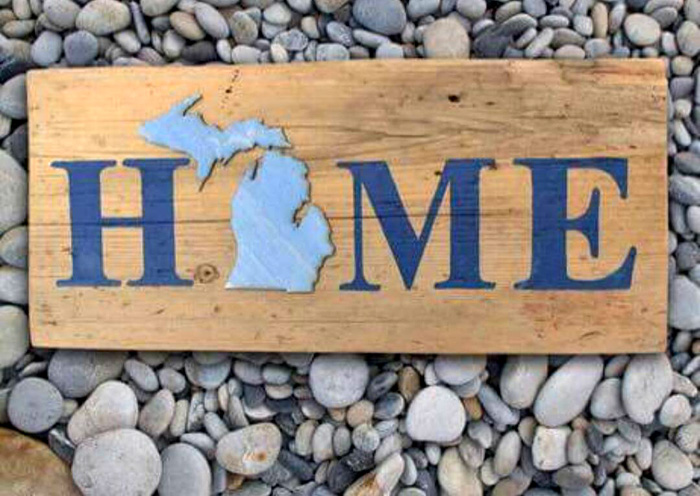 Michigan Barnwood HOME Sign   Mi Old Barn Signs