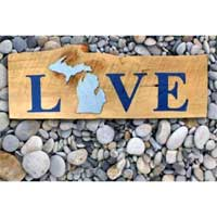 Michigan Barnwood Love Sign
