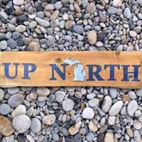 Michigan Barnwood UP NORTH Sign