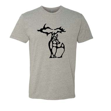 Michigan Deer Crewneck Tshirt - Black on Grey