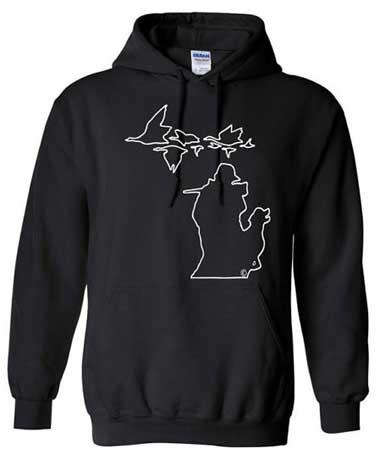 Michigan Geese Hoodie - White on Black