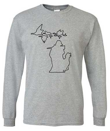 Michigan Geese Long Sleeve Shirt - Black on Grey
