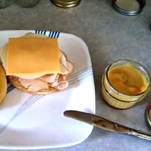 Sweet & Spicy Mustard on a Turkey Sandwich