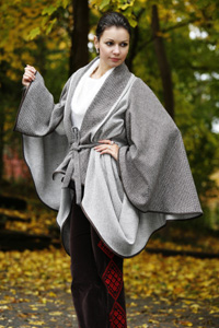 Brown & Bone Draped Cape-Sleeve Coat