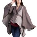 Brown & Bone Draped Wool-Blend Cape-Sleeve Coat