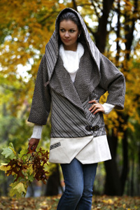 Brown & Sparkle Silver Hooded Coat with Buckle Closure