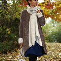 Black & Silver Wool-Blend Coat with Attached Scarf