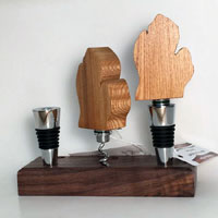 Michigan Wine Bottle Stopper with Corkscrew