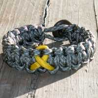 Cancer Awareness Ribbon Paracord Bracelet shown in ACU and Yellow