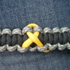 Cancer Awareness Ribbon Paracord Bracelet Shown in ACU and Black with Yellow Ribbon