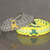 Cancer Awareness Ribbon Paracord Bracelet Shown in ACU/Yellow Ribbon and Neon Green/Neon Yellow/Hunter Green Ribbon