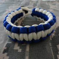 Air Force Paracord Bracelet shown in electric blue and white