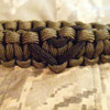 Heart Paracord Bracelet shown in Olive Drab with Black Heart
