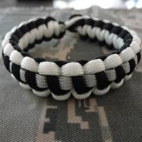 POW-MIA Paracord Bracelet shown in black and white
