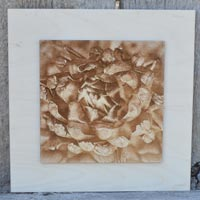 3D Artichoke Picture Burned Into Wood