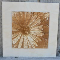 3D Rain Flower Picture Burned Into Wood