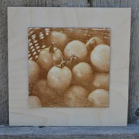 3D Tomato Basket Burned Picture Into Wood