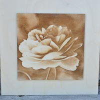 3D Yellow Rose Picture Burned Into Wood