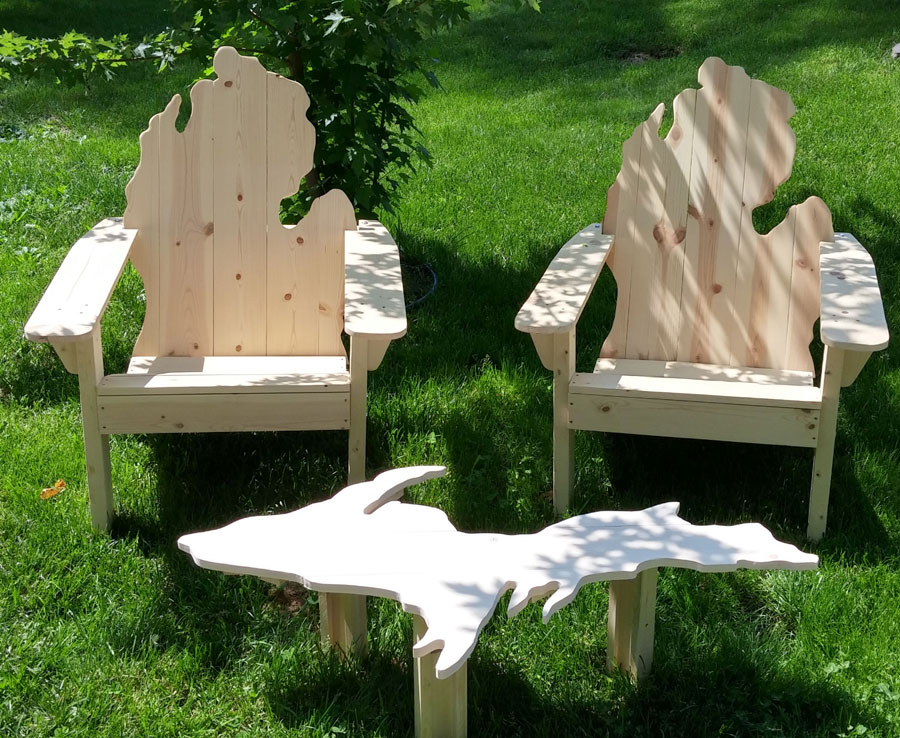 Michigan Adirondack Chairs And Michigan UP Table PicWood USA