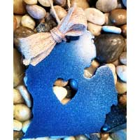 Metal Open Heart Lower Michigan Ornament - Blue
