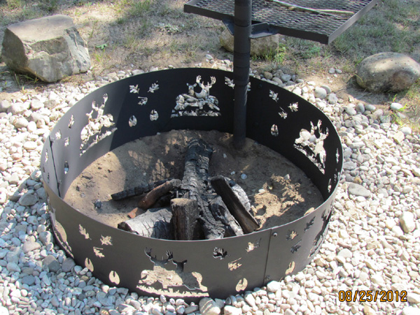 Deer Fire Pit Ring - Fire Pit Rings - 14 Gauge Steel Plasma Cut Rebel Metal Works