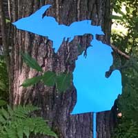Michigan Garden Stake - Blue