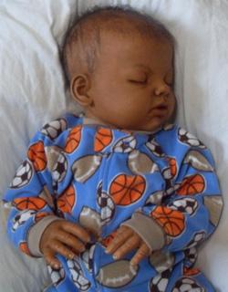 African American Sleeping Baby Boy Reborn Doll