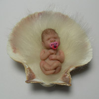 Hand sculpted Polymer Clay Baby Doll