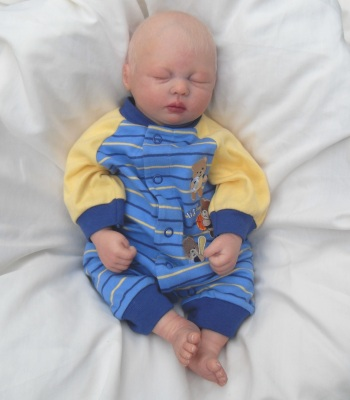 Handcrafted Sleeping Blonde Hair Baby Boy Reborn Doll