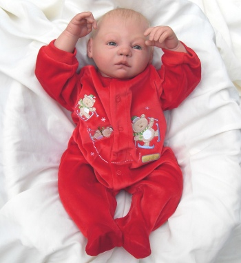 Handcrafted Awake Blonde Hair Baby Boy Reborn Doll