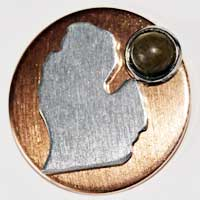Petoskey Stone Lower Michigan Tie Tac on Copper Base