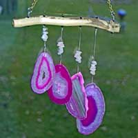 Lake Superior Driftwood Wind Chimes with Agate Geode Stone