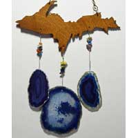 Upper Peninsula Michigan Wind Chimes with Agate Geode Stone