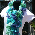 Aqua Blue and Green Ruffle Scarf