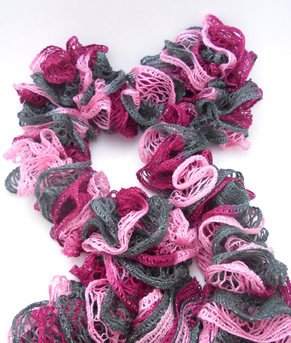 burgundy pink gray ruffle scarf with sashay yarn
