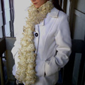 Off White with Gold Sparkle Trim Ruffle Scarf