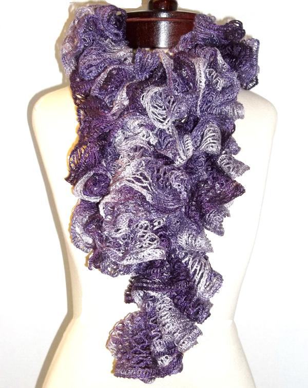 lavender lace ruffle scarf with sashay yarn ruffle scarves