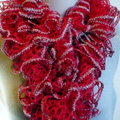 Red with Silver Sparkle Ruffle Scarf