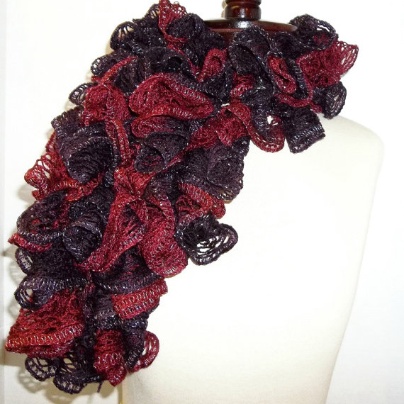 burgundy wine ruffle scarf with sashay yarn ruffle scarves